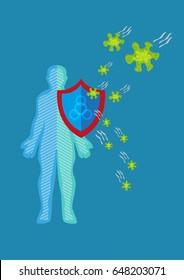 Man is protected against diseases or viruses. Editable Clip Art.