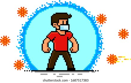 Man Protected from Virus. Personal hygiene concept. Pixel Art illustration isolated on white