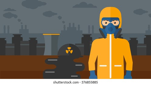 Man in protective chemical suit.