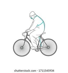 Homme en vêtements de protection sur un vélo. Illustration d'art linéaire.