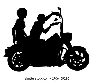 Man in protective clothing rides a retro bike. Isolated silhouette on a white background