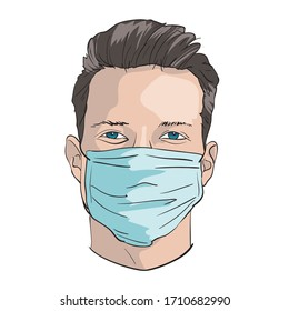 man in protective medical mask