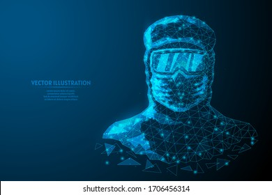 Man in a protective suit, in a medical mask, goggles. Medical worker, doctor is protected against infection with the COVID-19 virus, chemical protection, infection, biosecurity. Low poly illustration.