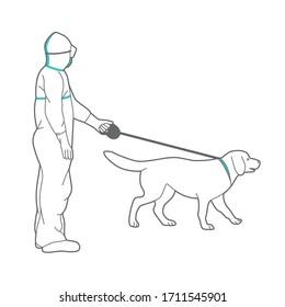 Un homme en costume de protection et en respirateur marche un chien. Illustration d'art linéaire de gens avec des animaux de compagnie dans la rue.