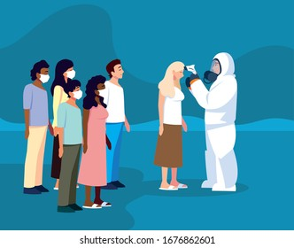 man in protective suit safety clothing with thermal imager checks an group of people vector illustration design