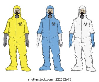Man in protective suit,blue, yellow, white