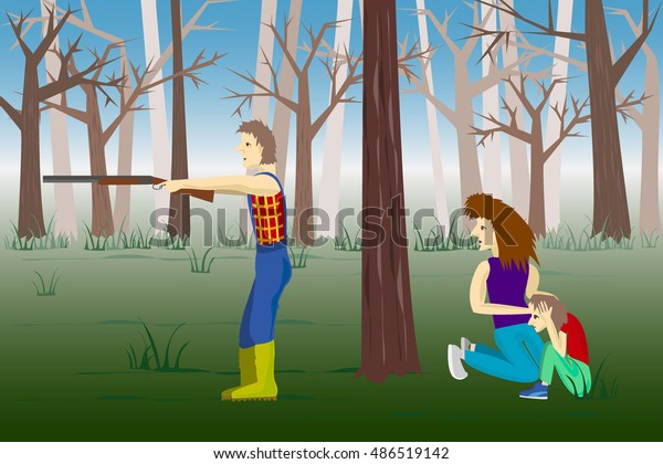 Man protects his family in the woods