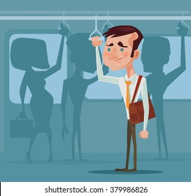 Man in public transport. Vector flat illustration