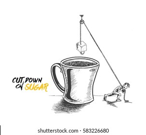 A man pulling a rope with sugar cube on the cup, Hand Drawn Vector Background.
