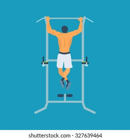 Man pull-up up on horizontal bar in gym. Flat vector illustration