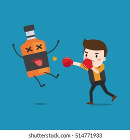 man punching liquor bottles to knock out. This illustration description to fighting for stop drinking alcohol.
