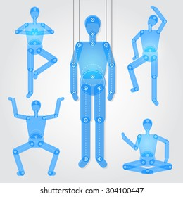 Man puppet in a different poses with a separated part of body. Good for animation, infographic or for construction many different poses.