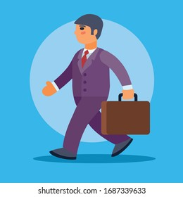 man in a purple suit goes with a briefcase to work or returns home on a blue background, vector illustration,