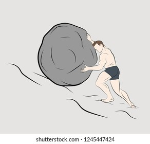 man pushes a stone up. vector illustration.