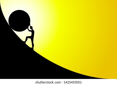 man pushing big boulder uphill with yellow sky and sun. Concept of fatigue, effort, courage. Vector cartoon black silhouette in flat design isolated on yellow background
