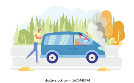 Man Pushing Broken Car on Forest Background Flat Cartoon Vector Illustarion. Guy Helping Friend on Vehicle with Smoke from Hood. Driver Sitting behind Wheel. Problem with Transport.