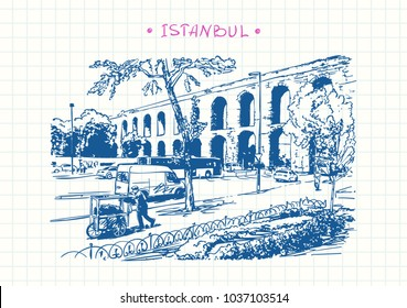 Man pushing cart and traffic road near ancient Aqueduct in Istanbul, Turkey, Travel sketchbook, Blue pen sketch on square grid notebook page, Hand drawn vector illustration
