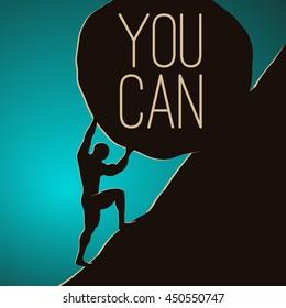 A man pushing huge rock. Motivating vector EPS10 illustration