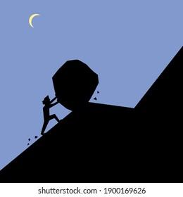 Man pushing large stone up hill, hard work at night, vector illustration