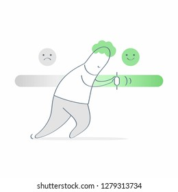 Man pushing satisfaction or loading progress level bar slider between smiley and upset customer face. Rating or review ranking bar, feedback rate emoticon illustration concept. Outline vector on white