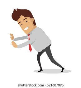 Man pushing unseeing wall. Businessman with tie push something. Sucessfull smiling person isolated on white background. Happy fight with problem. Successful idea banner. Satisfied male. Vector
