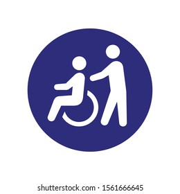 A man pushing a wheelchair with a patient line icon for web, mobile and infographics. Vector light blue icon isolated on blue background.