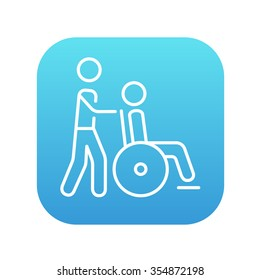 A man pushing a wheelchair with a patient line icon for web, mobile and infographics. Vector white icon on the blue gradient square with rounded corners isolated on white background.