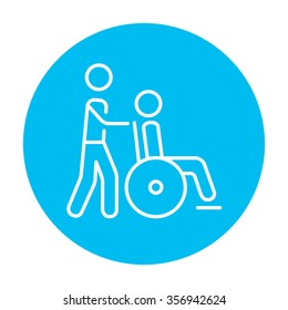 A man pushing a wheelchair with a patient line icon for web, mobile and infographics. Vector white icon on the light blue circle isolated on white background.