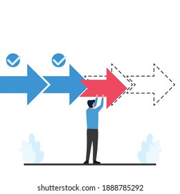 Man put forward arrow for progress metaphor of work on process.