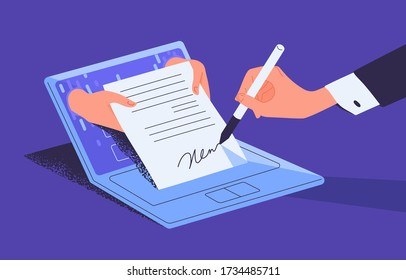 Man putting esignature into legal document. Digital signature concept. Businessman signing an agreement or contract online. Colorful vector illustration in flat cartoon style