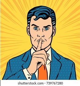 Man putting her forefinger to her lips for quiet silence. Making silence gesture shhh. Pop art comics style. Vector illustration yellow background