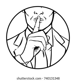 Man putting her forefinger to her lips for quiet silence. Making silence gesture shhh circle. Pop art comics style. Black and white vector illustration