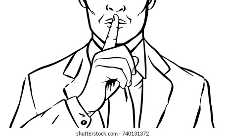Man putting her forefinger to her lips for quiet silence. Making silence gesture shhh. Pop art comics style. Black and white vector illustration