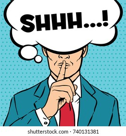Man putting her forefinger to her lips for quiet silence. Making silence gesture shhh. Pop art comics style. Vector illustration blue background