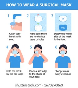 Man is putting on mask to prevent virus. Illustration of steps, how to wear surgical mask. Instruction vector of washing hands. Prevention of corona-virus.