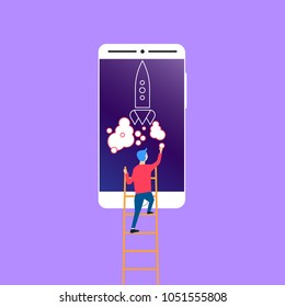 Man putting a smoke circle to the rocket launch on the smartphone screen