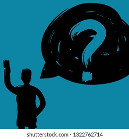 Man with Question Mark Illustration, Decision Making Concept, Vector, Community Outreach, Thought Provoking, Paint Text, Crisis Management, Solitary Person, Decision Making, Human Resources Concept