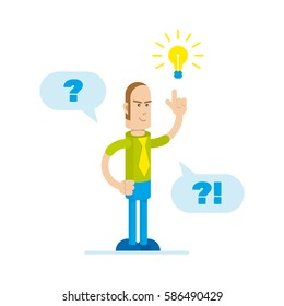 Man with question mark and light bulb icons. Vector illustration