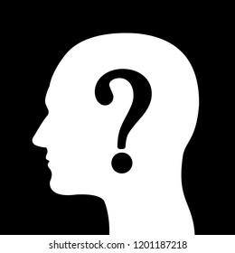 Man with question mark over the silhouette of head - unknown person with hidden and anonymous identity. Unidentified person and character. Vector illustration
