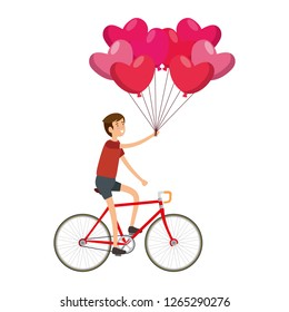 man in racing bicycle and balloons air