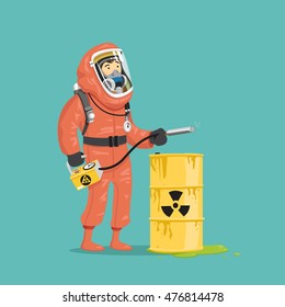 Man in radiation suit with Geiger counter near the radioactive barrels. Vector illustration.