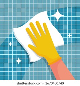 Man with a rag will wipe tiles in the bathroom. Cleanliness and shine are a symbol of hygiene and disinfection. Work at home. Shining surface. Vector illustration flat design. Housekeeping concept.