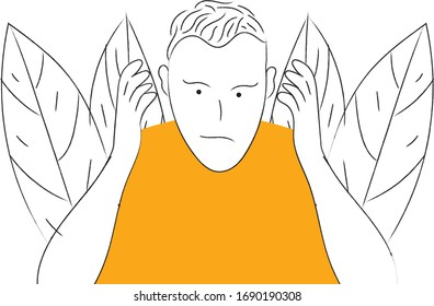 The man raised his two hands along the ear illustration