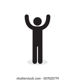 Man raised two hands icon, vector simple isolated illustration.