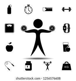 The man raises dumbbell icon. Simple glyph vector element of gym icons set for UI and UX, website or mobile application