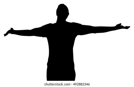 man raising his hands vector silhouette illustration isolated on white background. Young man with arms wide open