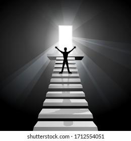 El hombre llegó a la cima o al futuro. Empresario en la parte superior de las escaleras frente a la luminosa entrada al futuro. Interior oscuro camino hacia adelante y hacia arriba. El hombre encontró la salida y vio la luz. Escalera al cielo