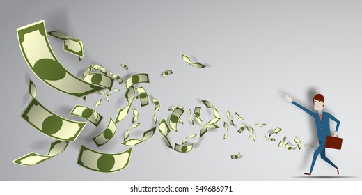 Man reaching for the money that flying in the air with paper art background vector illustration