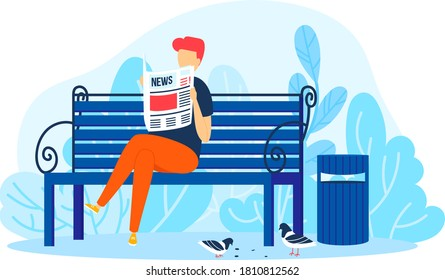 Man read newspaper in park, male person relax vector illustration. Guy character at bench, adult lifestyle outdoor background. People sit with cartoon information, happy graphic human at nature.