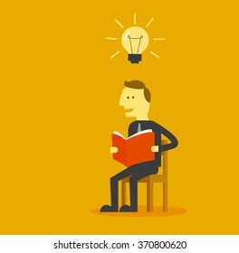 man reading a book for get ideas